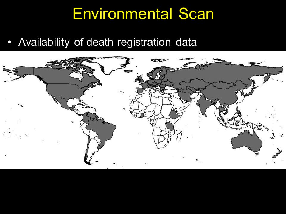 Environmental Scan Availability of death registration data