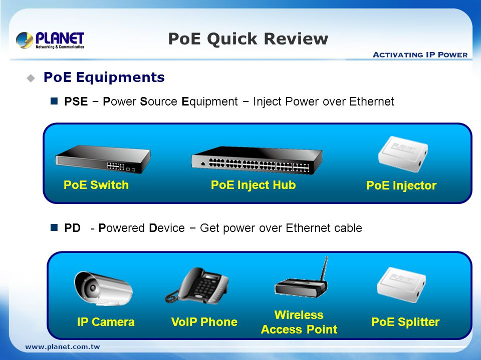 PoE Quick Review  PoE Equipments PSE – Power Source Equipment – Inject Power over Ethernet PD - Powered Device – Get power over Ethernet cable PoE SwitchPoE Inject Hub PoE Injector Wireless Access Point IP CameraVoIP Phone PoE Splitter