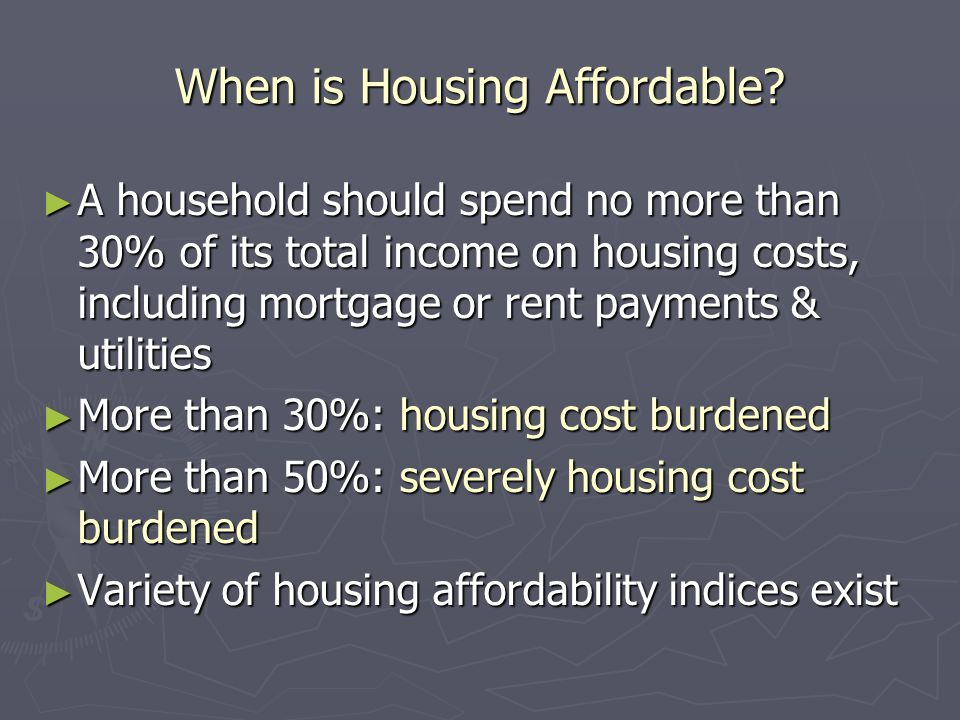 When is Housing Affordable.