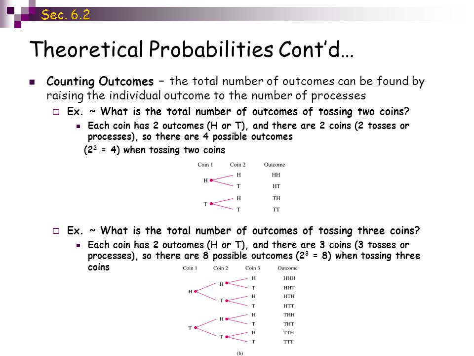 Theoretical Probabilities Cont'd… Counting Outcomes – the total number of outcomes can be found by raising the individual outcome to the number of processes  Ex.