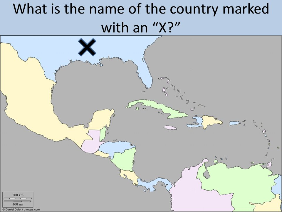 What is the name of the country marked with an X