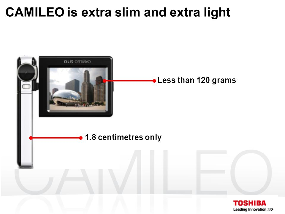 CAMILEO is extra slim and extra light 1.8 centimetres only Less than 120 grams