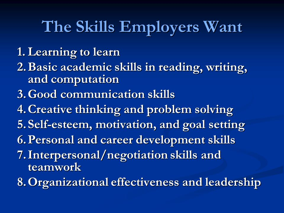 The Skills Employers Want 1.Learning to learn 2.Basic academic skills in reading, writing, and computation 3.Good communication skills 4.Creative thinking and problem solving 5.Self-esteem, motivation, and goal setting 6.Personal and career development skills 7.Interpersonal/negotiation skills and teamwork 8.Organizational effectiveness and leadership