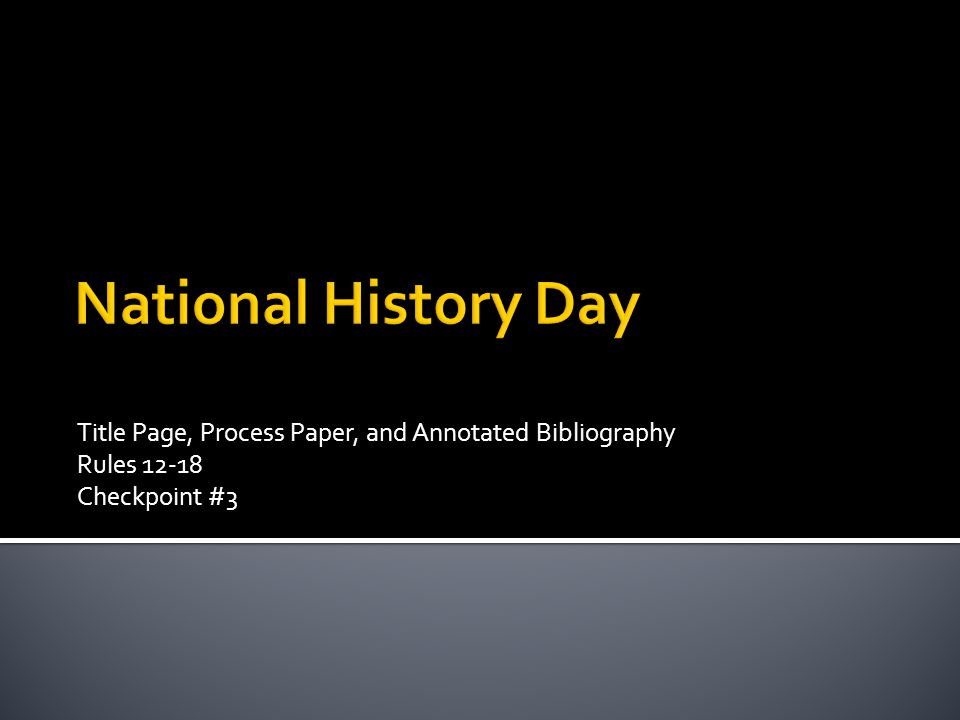 Category Page National History Day