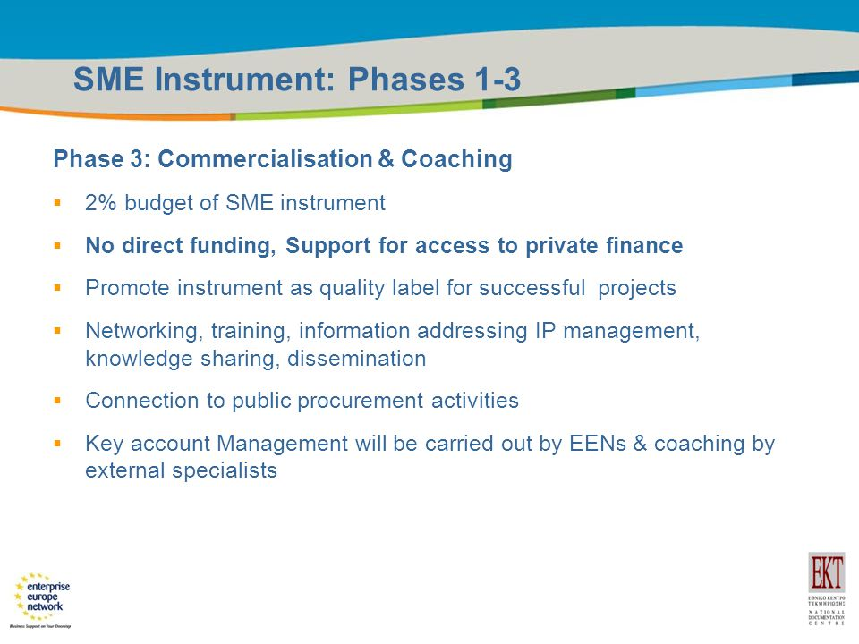 Title of the presentation | Date |12 SME Instrument: Phases 1-3 Phase 3: Commercialisation & Coaching  2% budget of SME instrument  No direct funding, Support for access to private finance  Promote instrument as quality label for successful projects  Networking, training, information addressing IP management, knowledge sharing, dissemination  Connection to public procurement activities  Key account Management will be carried out by EENs & coaching by external specialists