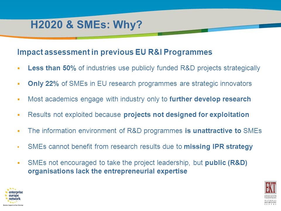 Title of the presentation | Date |6 H2020 & SMEs: Why.