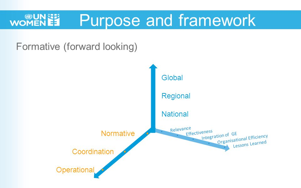 Formative (forward looking) Purpose and framework Relevance Effectiveness Integration of GE Organisational Efficiency Lessons Learned Global Regional National Normative Coordination …...