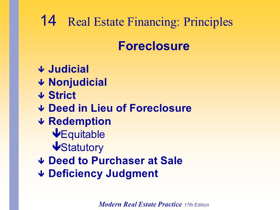 14 Real Estate Financing: Principles Modern Real Estate Practice 17th Edition Foreclosure ê Judicial ê Nonjudicial ê Strict ê Deed in Lieu of Foreclosure ê Redemption êEquitable êStatutory ê Deed to Purchaser at Sale ê Deficiency Judgment