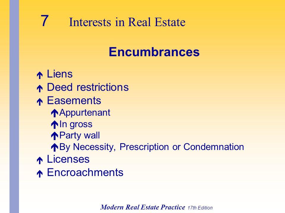 Modern Real Estate Practice 17th Edition Encumbrances é Liens é Deed restrictions é Easements éAppurtenant éIn gross éParty wall éBy Necessity, Prescription or Condemnation é Licenses é Encroachments