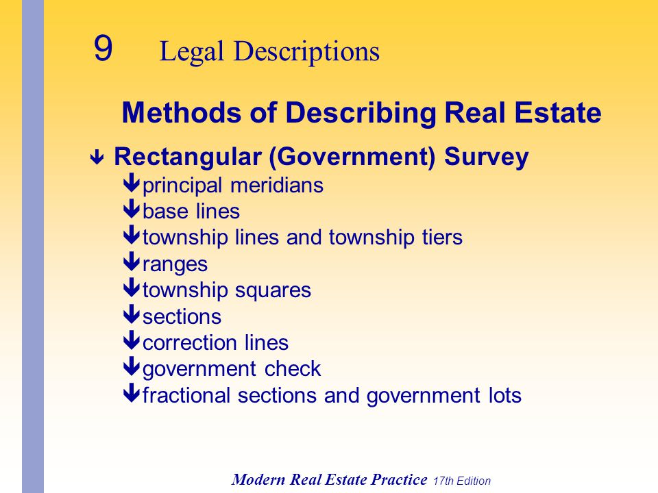Modern Real Estate Practice 17th Edition Methods of Describing Real Estate ê Rectangular (Government) Survey êprincipal meridians êbase lines êtownship lines and township tiers êranges êtownship squares êsections êcorrection lines êgovernment check êfractional sections and government lots