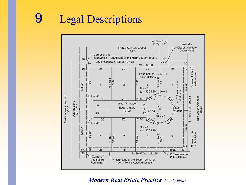 Modern Real Estate Practice 17th Edition 9 Legal Descriptions
