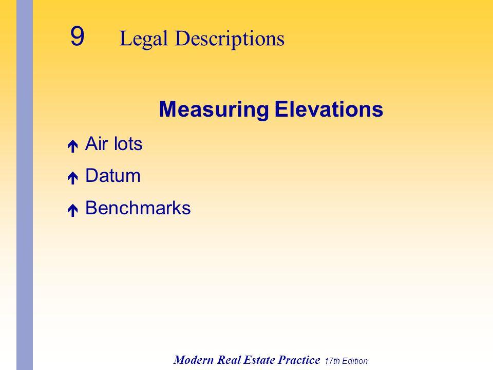 Modern Real Estate Practice 17th Edition Measuring Elevations é Air lots é Datum é Benchmarks