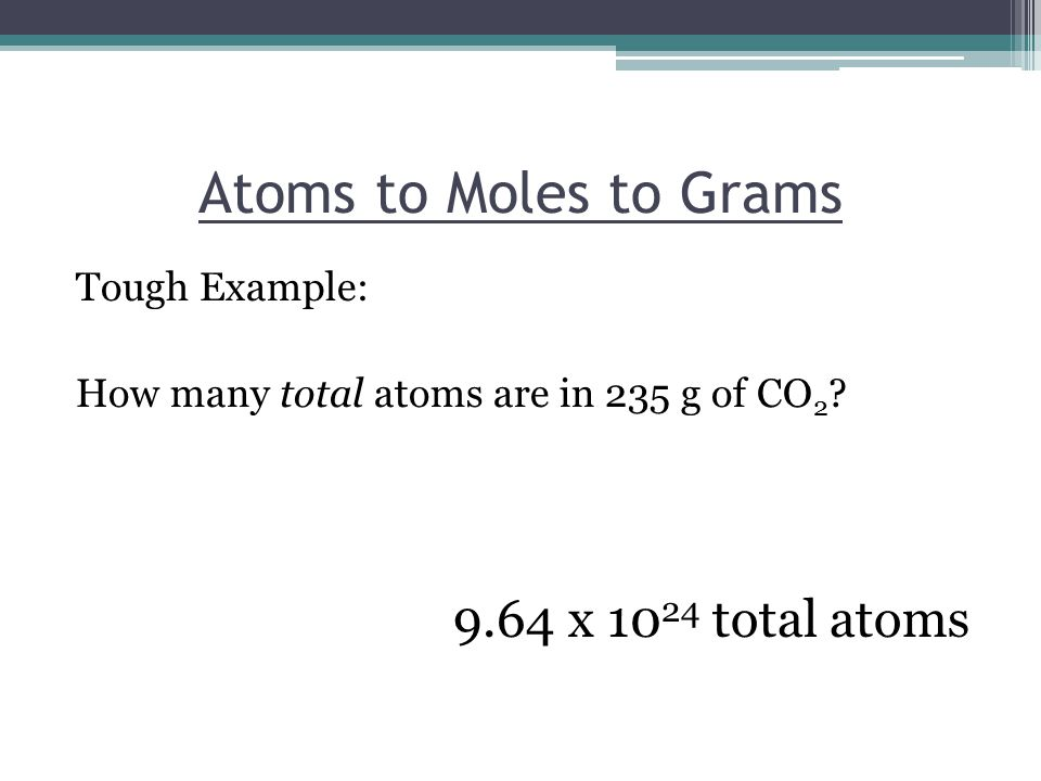 Atoms to Moles to Grams Tough Example: How many total atoms are in 235 g of CO 2 .