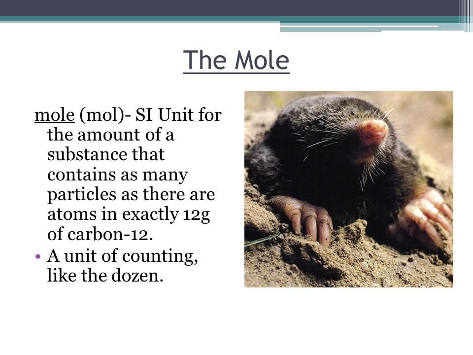 The Mole mole (mol)- SI Unit for the amount of a substance that contains as many particles as there are atoms in exactly 12g of carbon-12.