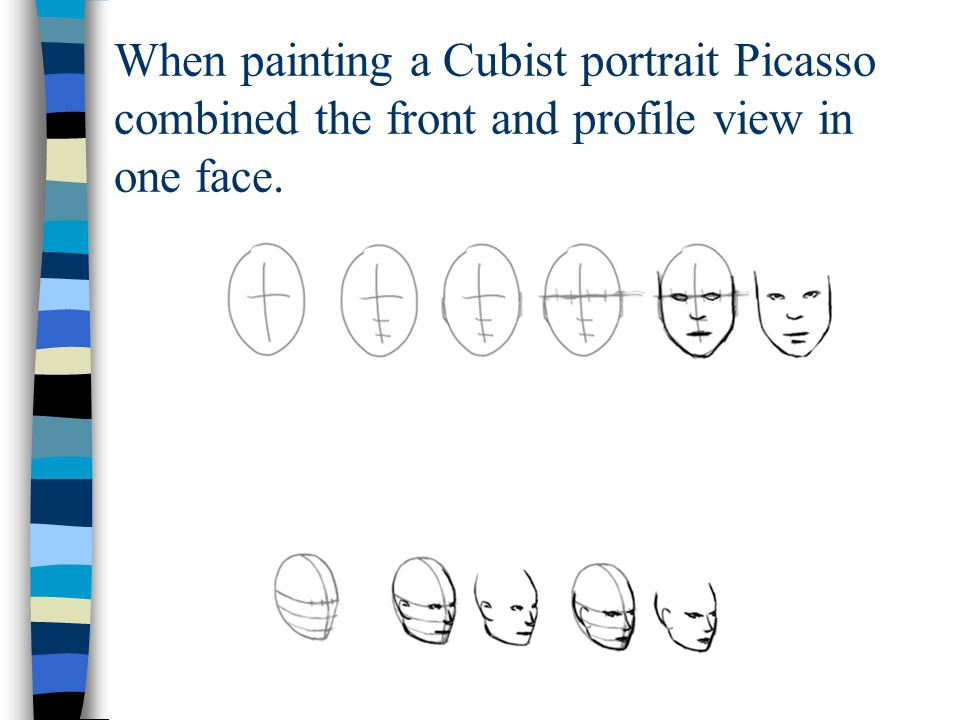 When painting a Cubist portrait Picasso combined the front and profile view in one face.