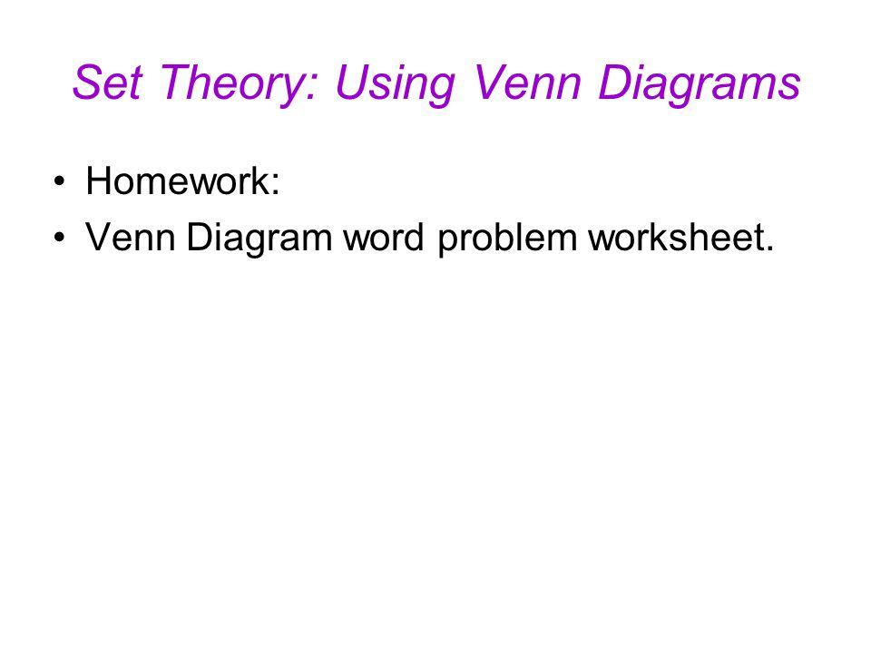 Set theory using venn diagrams universal set u the set of all 19 homework venn diagram word problem worksheet set theory using venn diagrams ccuart Choice Image