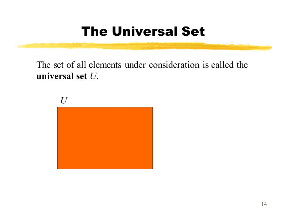 14 The Universal Set The set of all elements under consideration is called the universal set U. U
