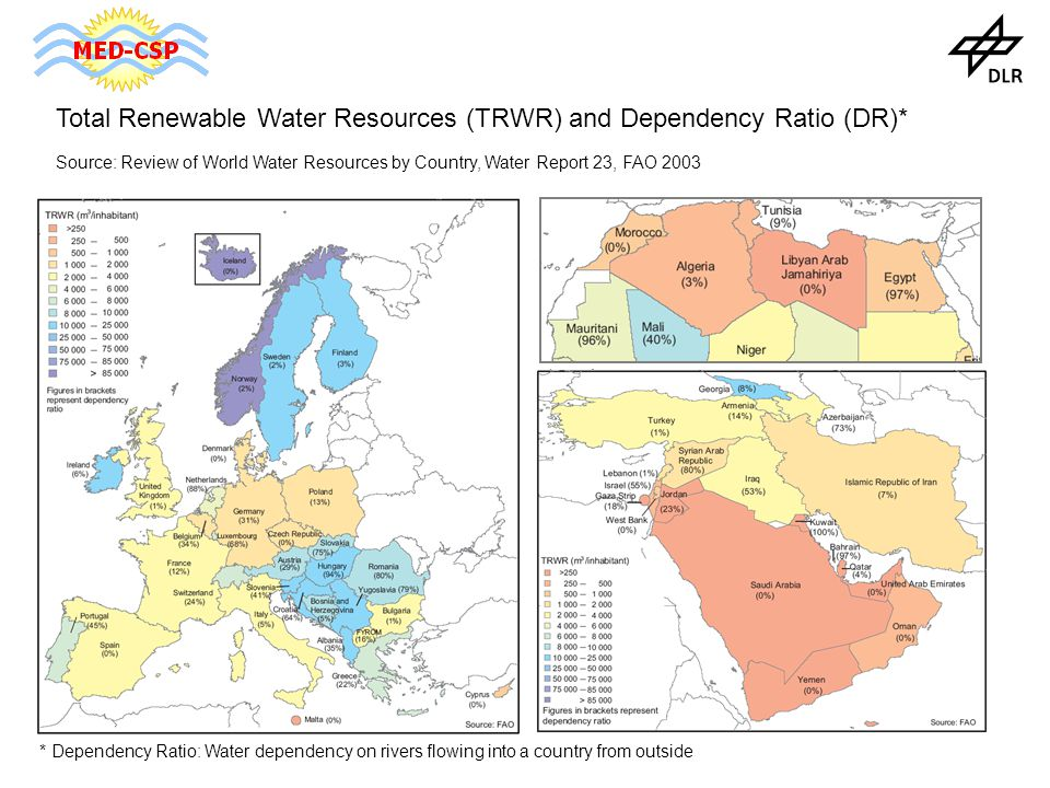 Total Renewable Water Resources (TRWR) and Dependency Ratio (DR)* Source: Review of World Water Resources by Country, Water Report 23, FAO 2003 * Dependency Ratio: Water dependency on rivers flowing into a country from outside