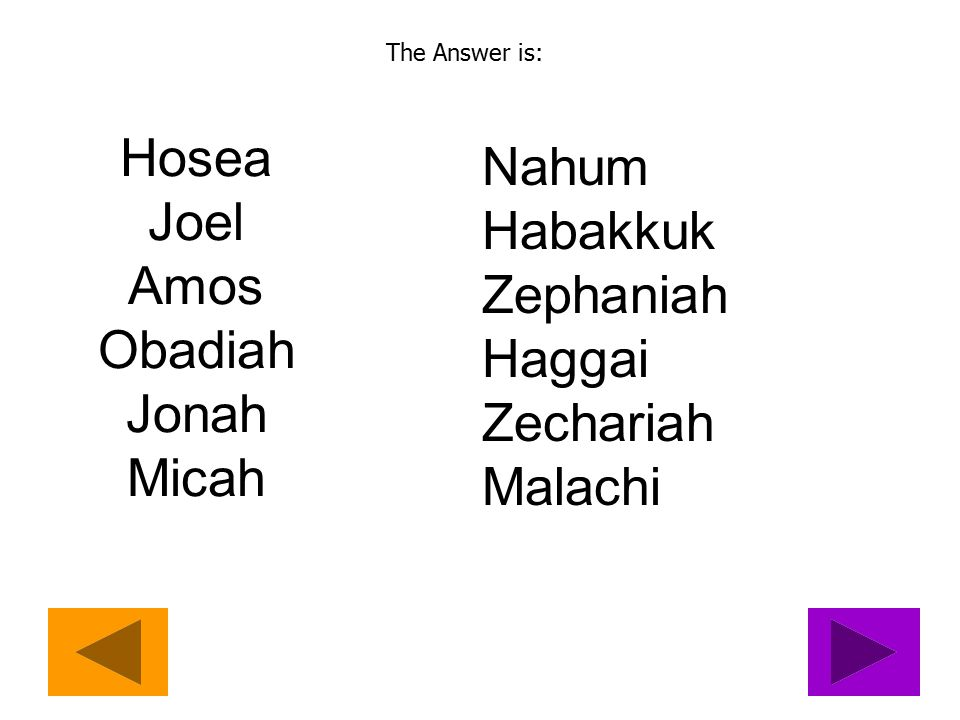 Question 8 Who are the Minor Prophets