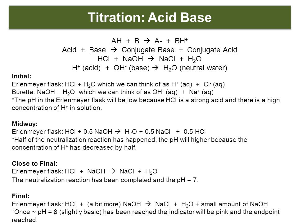 Titration: Acid Base AH + B  A- + BH + Acid + Base  Conjugate Base + Conjugate Acid HCl + NaOH  NaCl + H 2 O H + (acid) + OH - (base)  H 2 O (neutral water) Initial: Erlenmeyer flask: HCl + H 2 O which we can think of as H + (aq) + Cl - (aq) Burette: NaOH + H 2 O which we can think of as OH - (aq) + Na + (aq) *The pH in the Erlenmeyer flask will be low because HCl is a strong acid and there is a high concentration of H + in solution.