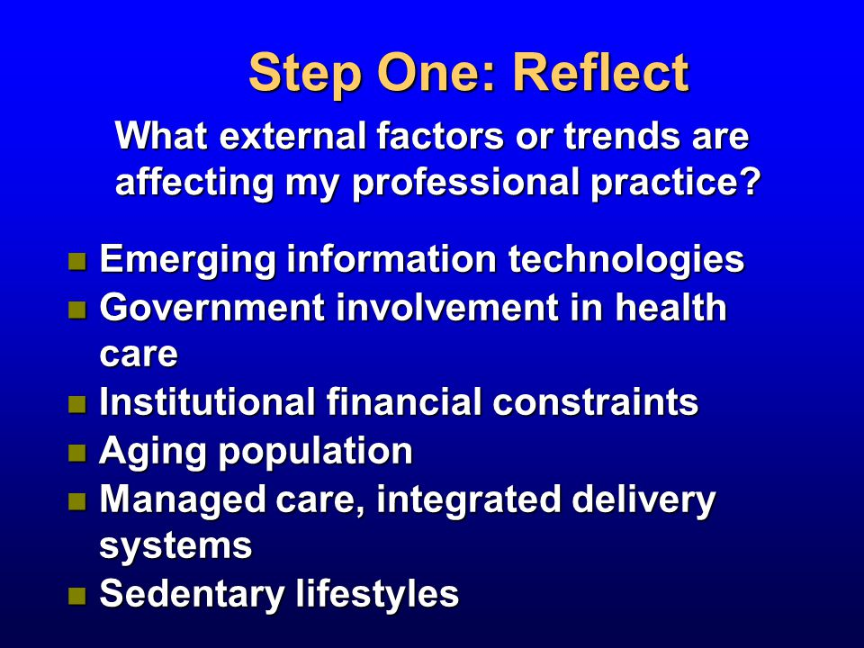 Step One: Reflect What external factors or trends are affecting my professional practice.