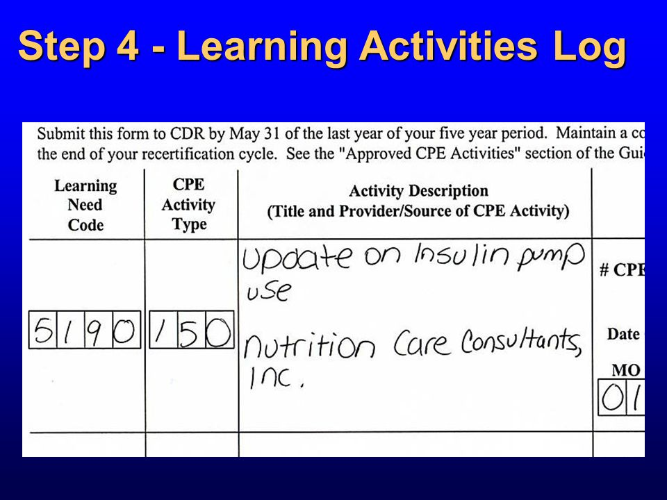 Step 4 - Learning Activities Log