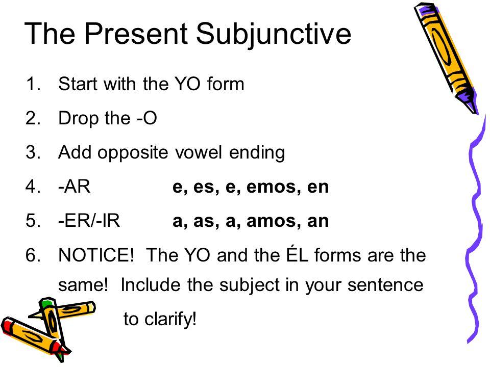 The Present Subjunctive Tense Por la Sra. Kurtz. In Spanish ...
