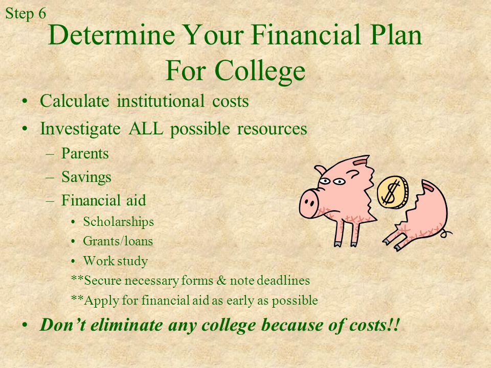 Determine Your Financial Plan For College Calculate institutional costs Investigate ALL possible resources –Parents –Savings –Financial aid Scholarships Grants/loans Work study **Secure necessary forms & note deadlines **Apply for financial aid as early as possible Don't eliminate any college because of costs!.