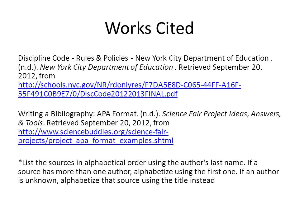 Works Cited Discipline Code - Rules & Policies - New York City Department of Education.