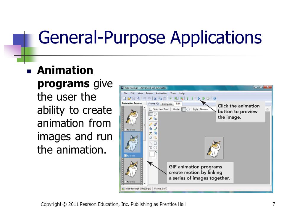 Animation programs give the user the ability to create animation from images and run the animation.