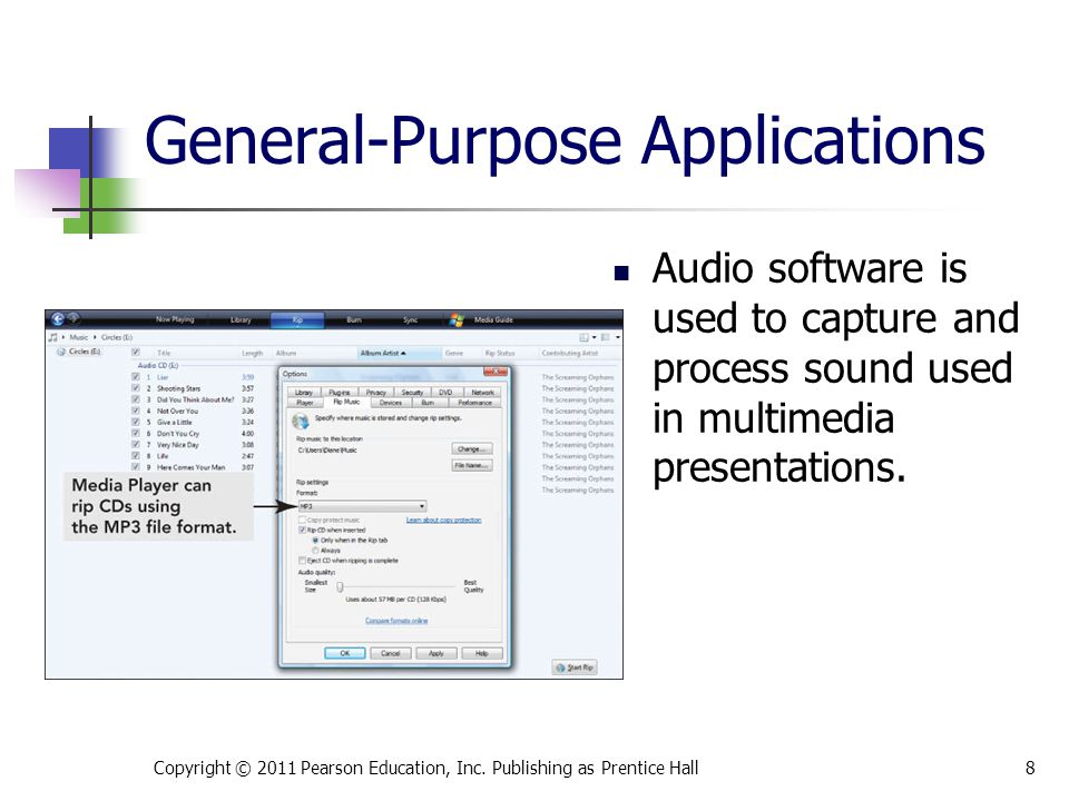 Audio software is used to capture and process sound used in multimedia presentations.