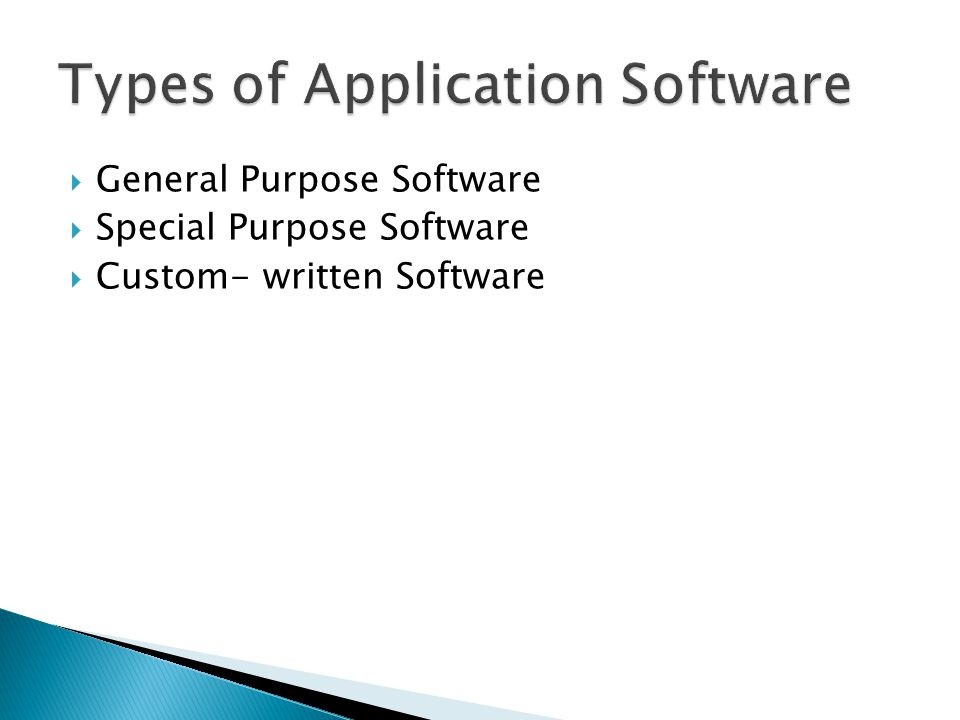 types of custom written software 3 custom written software although most organisations use general purpose software, some organisations will find that it just doesn't do exactly what they want or it doesn't work with their current systems.