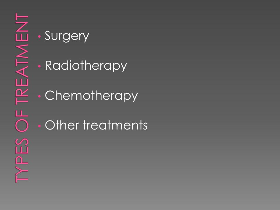 Surgery Radiotherapy Chemotherapy Other treatments