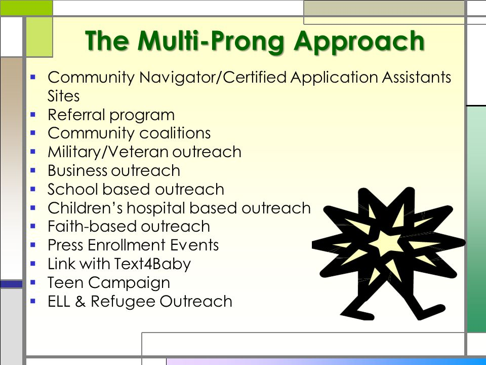 The Multi-Prong Approach  Community Navigator/Certified Application Assistants Sites  Referral program  Community coalitions  Military/Veteran outreach  Business outreach  School based outreach  Children's hospital based outreach  Faith-based outreach  Press Enrollment Events  Link with Text4Baby  Teen Campaign  ELL & Refugee Outreach