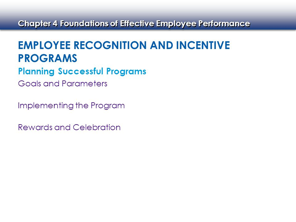 Chapter 4 Foundations of Effective Employee Performance Service Awards Sales and Productivity Awards Customer Satisfaction Awards Safety Awards Evaluating the Program Examples of Incentive Programs Longevity Awards