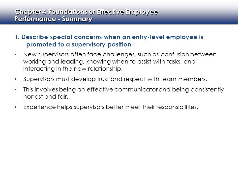 Chapter 4 Foundations of Effective Employee Performance - Summary Chapter 4 Foundations of Effective Employee Performance - Summary 2.