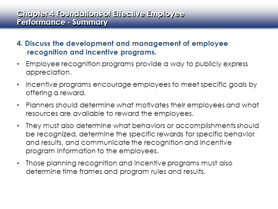 Chapter 4 Foundations of Effective Employee Performance - Summary Chapter 4 Foundations of Effective Employee Performance - Summary 4.