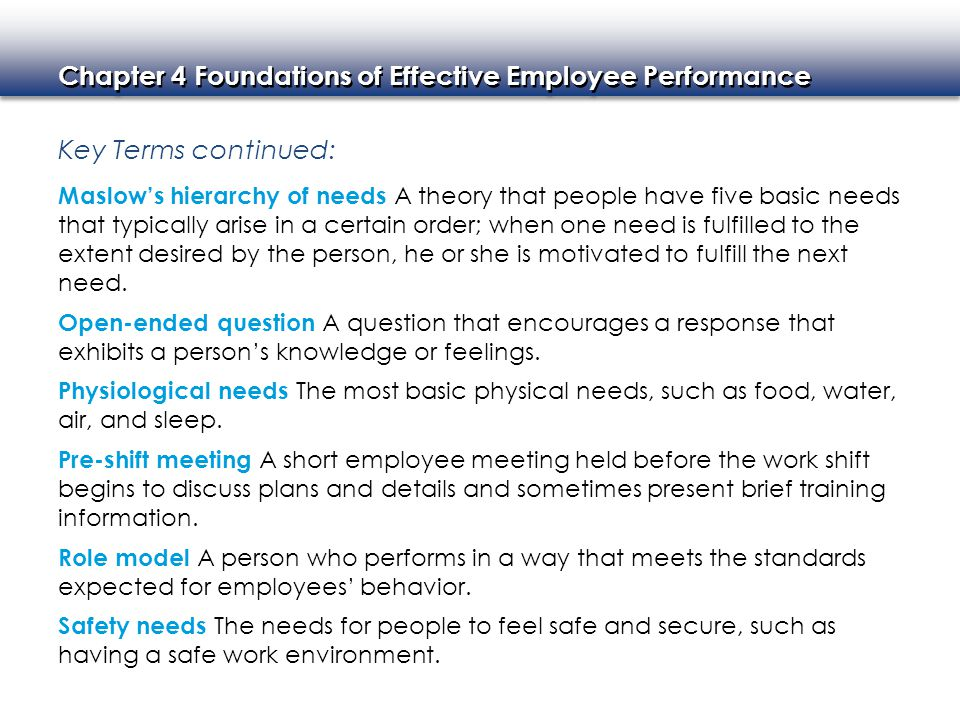Chapter 4 Foundations of Effective Employee Performance Key Terms continued: Self-actualization The drive to do the very best that one can do.