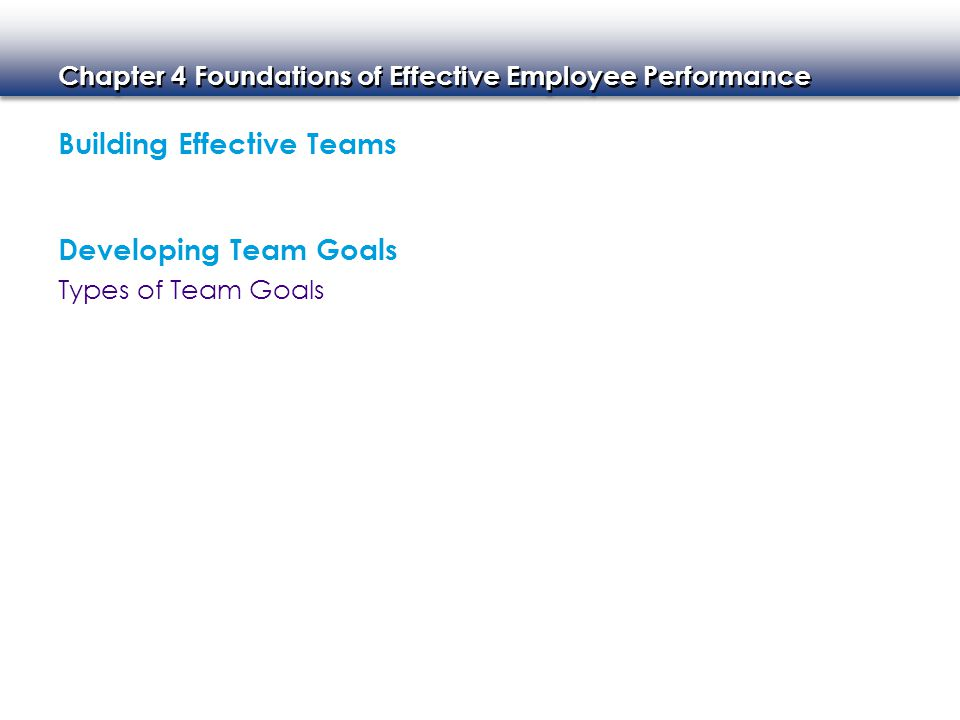 Chapter 4 Foundations of Effective Employee Performance Team-Building Issues