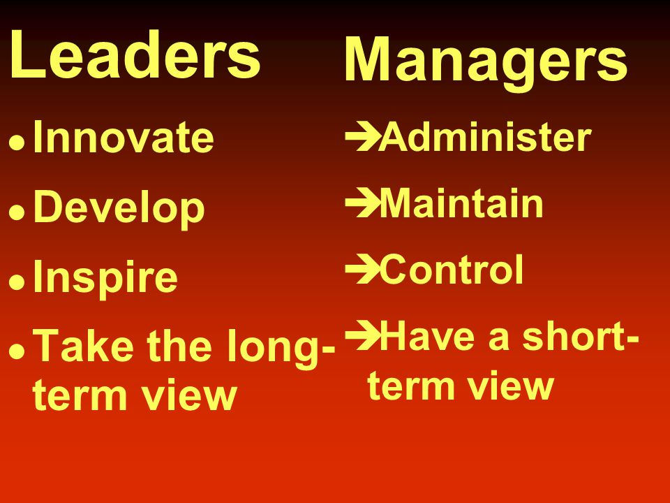 Distinctions Between Managers and Leaders