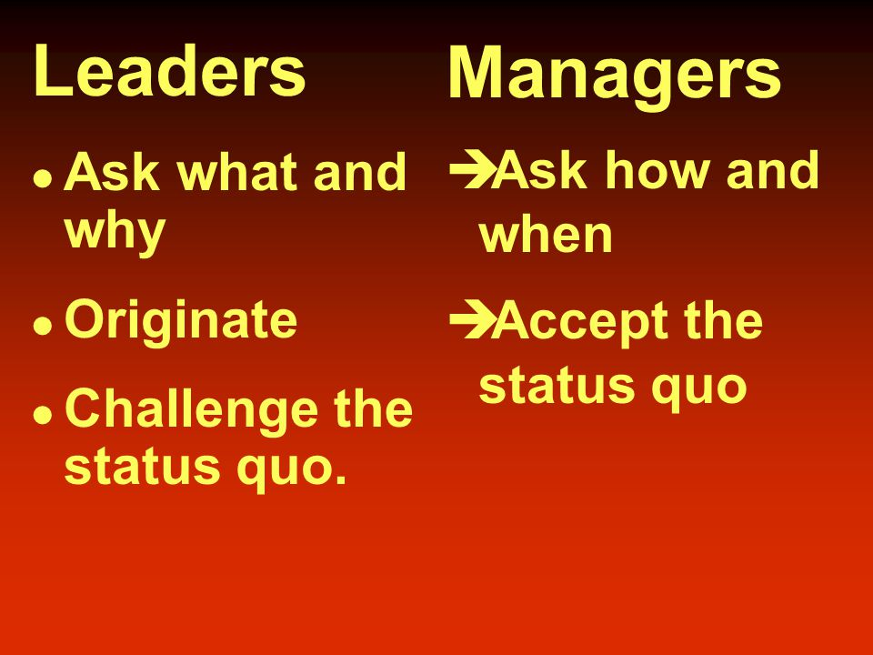 Leaders Innovate Develop Inspire Take the long- term view Managers  Administer  Maintain  Control  Have a short- term view