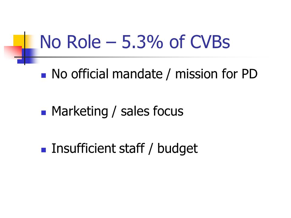 No Role – 5.3% of CVBs No official mandate / mission for PD Marketing / sales focus Insufficient staff / budget