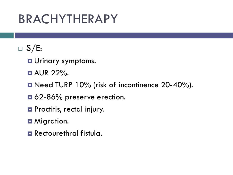 BRACHYTHERAPY  S/E:  Urinary symptoms.  AUR 22%.