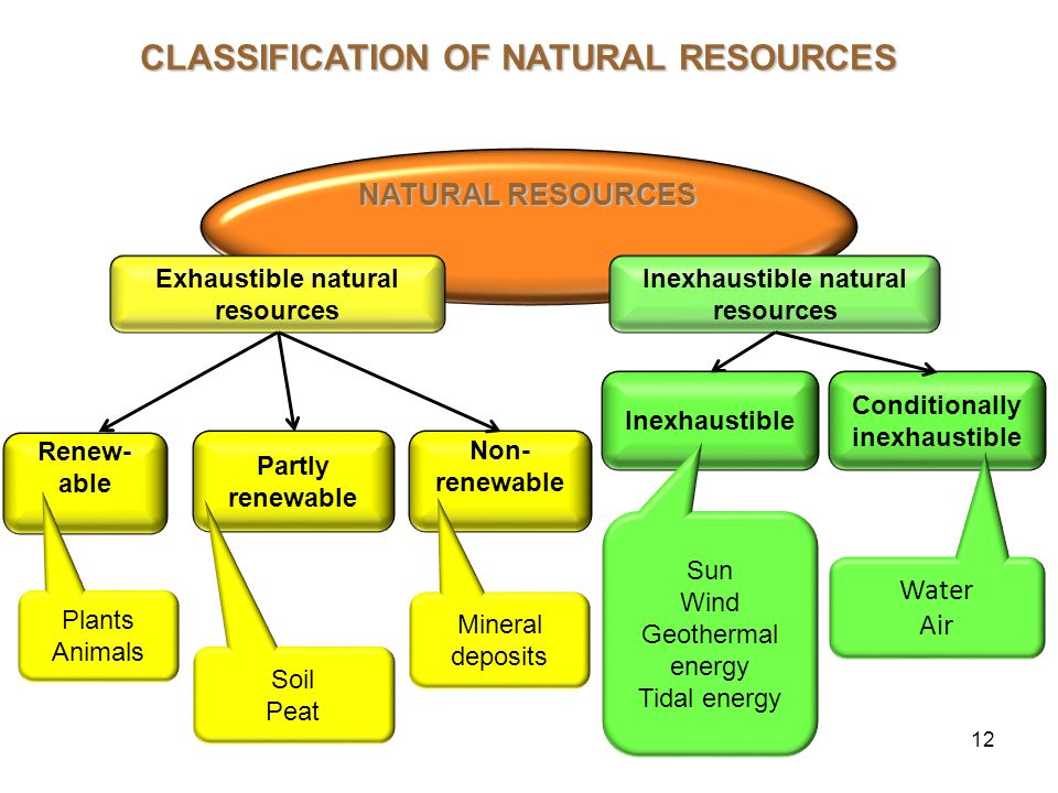 12 Exhaustible natural resources Inexhaustible natural resources Renew- able Inexhaustible Partly renewable Non- renewable Conditionally inexhaustible Plants Animals Soil Peat Mineral deposits Water Air Sun Wind Geothermal energy Tidal energy NATURAL RESOURCES CLASSIFICATION OF NATURAL RESOURCES