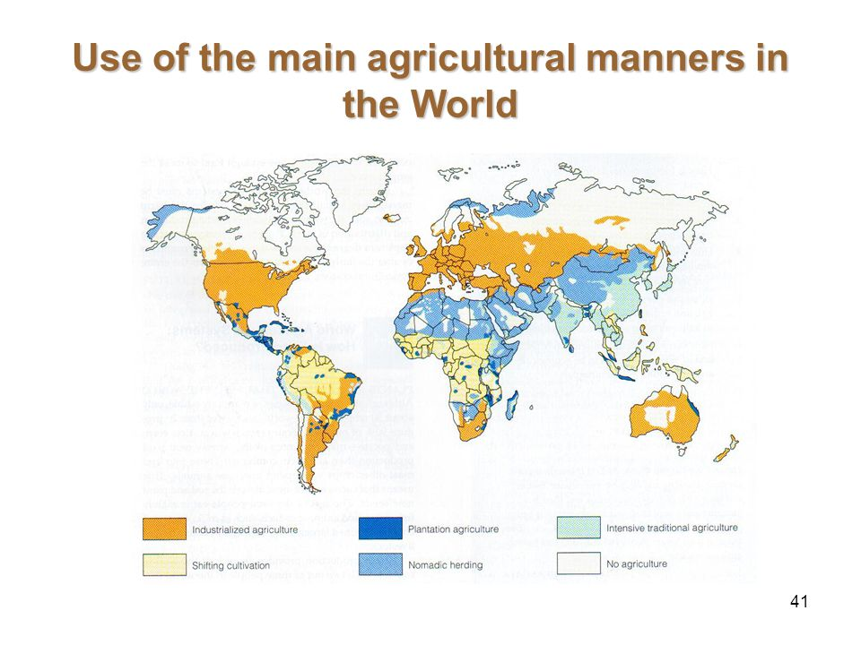 41 Use of the main agricultural manners in the World