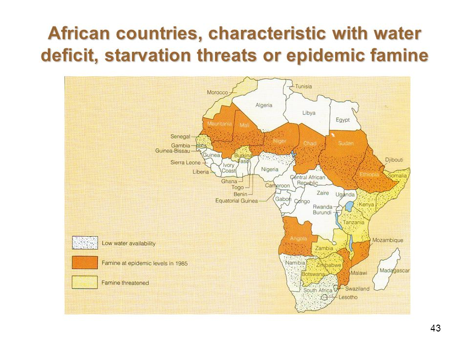 43 African countries, characteristic with water deficit, starvation threats or epidemic famine