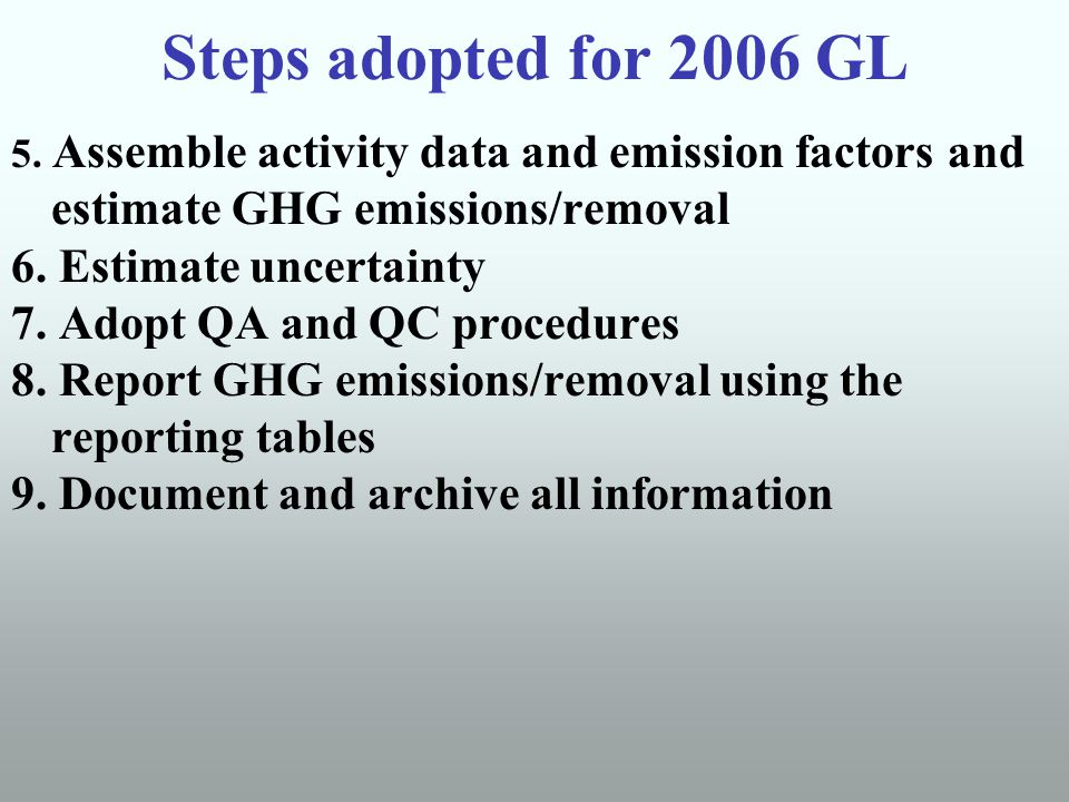 Steps adopted for 2006 GL 5.
