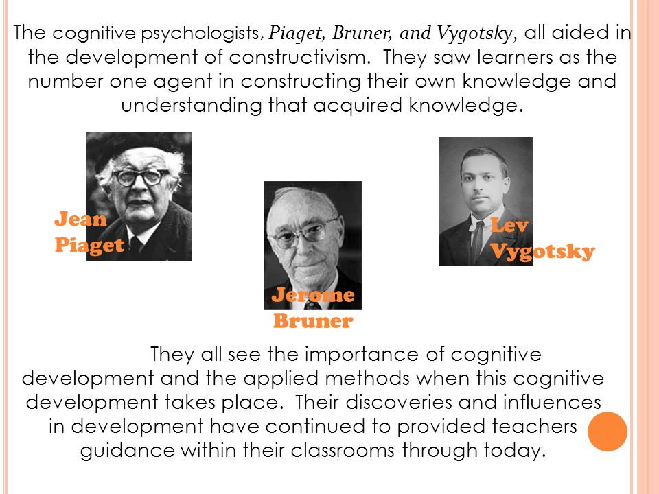 The cognitive psychologists, Piaget, Bruner, and Vygotsky, all aided in the development of constructivism.