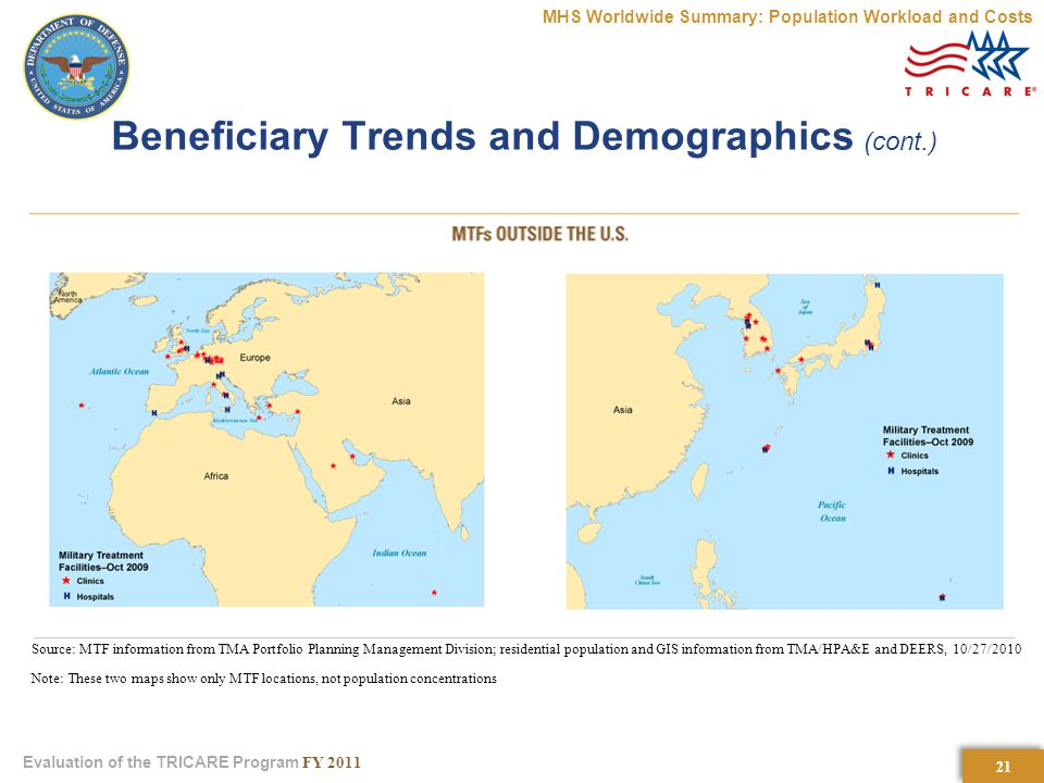 21 Evaluation of the TRICARE Program FY 2011 Beneficiary Trends and Demographics (cont.) MHS Worldwide Summary: Population Workload and Costs Source: MTF information from TMA Portfolio Planning Management Division; residential population and GIS information from TMA/HPA&E and DEERS, 10/27/2010 Note: These two maps show only MTF locations, not population concentrations