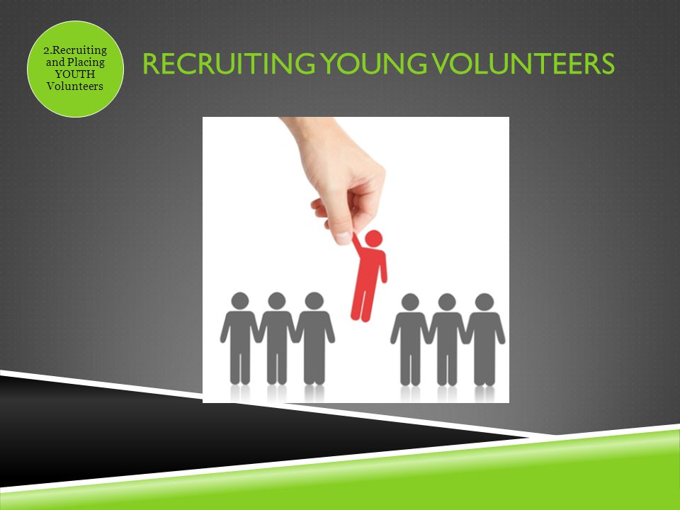 RECRUITING YOUNG VOLUNTEERS 2.Recruiting and Placing YOUTH Volunteers
